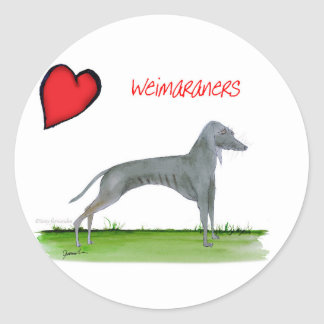 we luv weimaraners from Tony Fernandes Classic Round Sticker