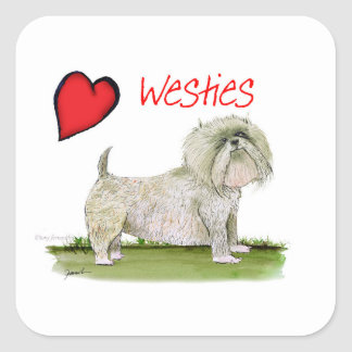 we luv westies from Tony Fernandes Square Sticker