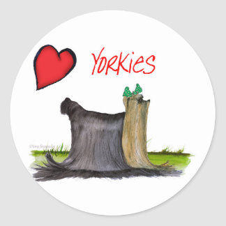 we luv yorkies from Tony Fernandes Classic Round Sticker
