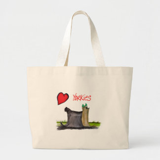 we luv yorkies from Tony Fernandes Large Tote Bag