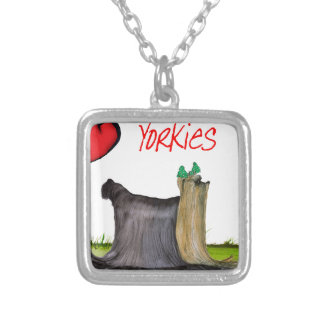we luv yorkies from Tony Fernandes Silver Plated Necklace