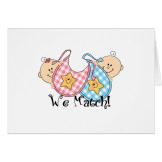 We Match Peeking Twins with Bibs 1 Girl, 1 Boy Greeting Card