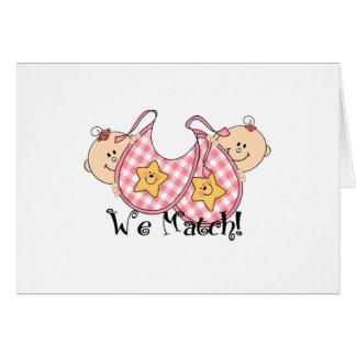 We Match Peeking Twins with Bibs 2 Girls Greeting Card