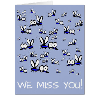 we miss you summer vacation cartoon mosquitoes card