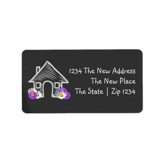We Moved Home Blackboard Doodle Personalised Label