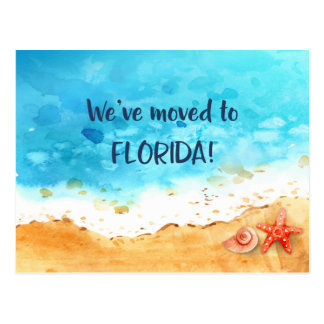 We Moved to Florida Beach Change of Address Postcard
