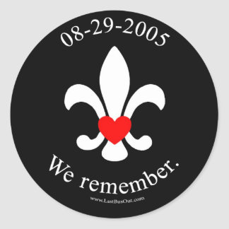 We remember classic round sticker