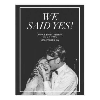 We Said Yes | Modern Photo Wedding Announcement Postcard