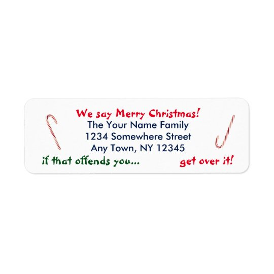 We Say Merry Christmas Return Address Label