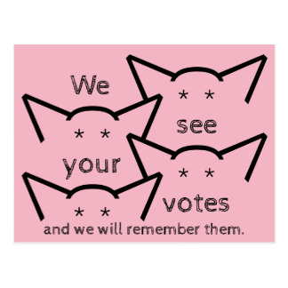 We see your votes and we will remember resist postcard