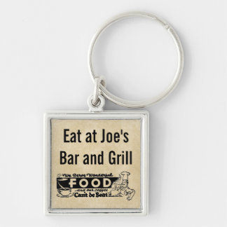 """We Serve Wonderful Food"" Personalized Restaurant Silver-Colored Square Key Ring"