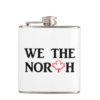 We the North. Canadian pride with a red maple leaf Hip Flask