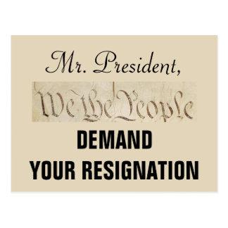 We the People Demand Trump's Resignation Postcard