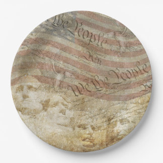 We The People USA Flag Mt. Rushmore Paper Plate