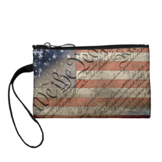 We The People Vintage American Flag Clutch Change Purses