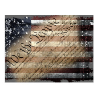 WE THE PEOPLE VINTAGE INDUSTRIAL USA FLAG Postcard