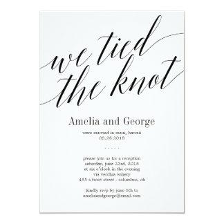 We Tied The Knot Wedding Reception Modern Script Card