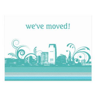 We ve Moved City Skyline Postcard