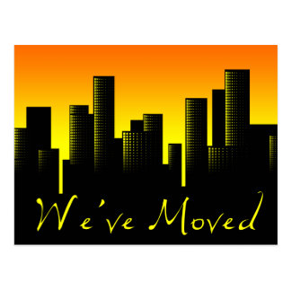 we ve moved cityscape announcement post card