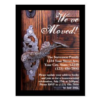 We ve Moved Rustic Door Moving Postcard