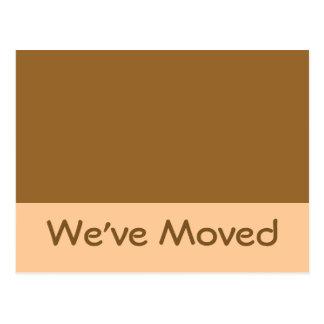 We ve Moved simple brown Postcard