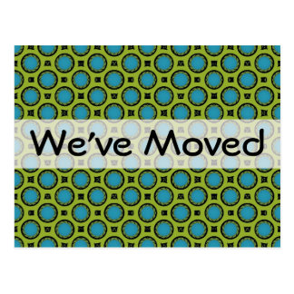 We ve Moved Turquoise Green Postcard