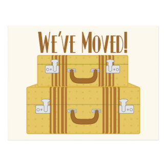 We ve Moved - Vintage Suitcases with Stars Postcard