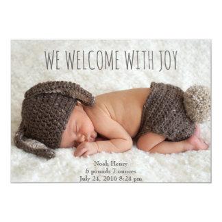 We welcome with Joy: Minimalist Card