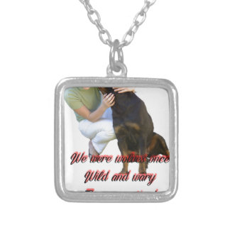 We were wolves once silver plated necklace