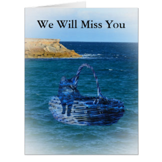 We will Miss You Cat Sea Adventure Bon Voyage Card