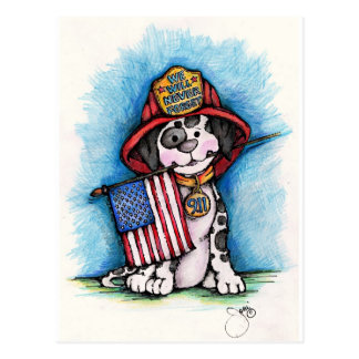 We Will Never Forget 9/11 Firefighter Dalmatian Postcard