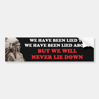WE WILL NEVER LIE DOWN BUMPER STICKER