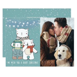 we wish you a beary christmas polar bear xmas card