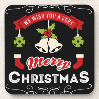 We wish you a Merry Christmas Greeting Coaster