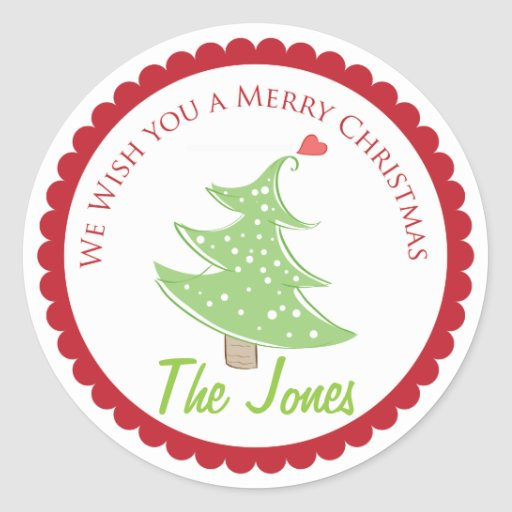 We Wish You A Merry Christmas label Stickers
