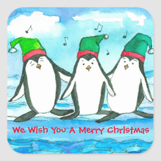 We Wish You A Merry Christmas Penguins Square Sticker