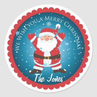 We Wish You A Merry Christmas Santa label Stickers