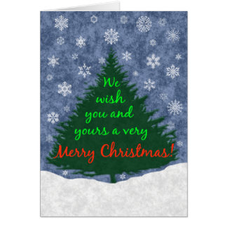 We Wish You a Merry Christmas Tree and Snowflakes Card