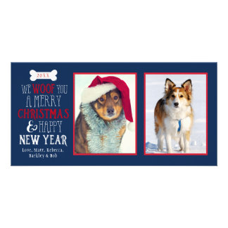 We Woof You A Merry Christmas Dog Pet Photocard Card