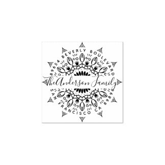 Wealth & Crowns Mandala Return Address Rubber Stamp