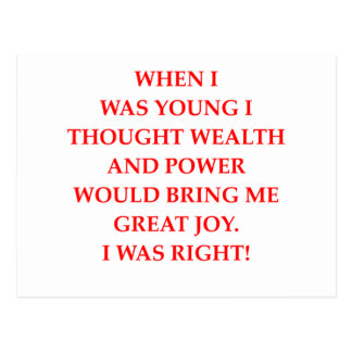 wealth power and happiness postcard