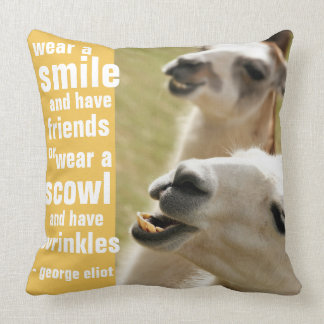 Wear a Smile and Have Friends George Eliot Quote Cushion