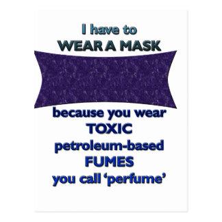 Wearing a mask because postcard
