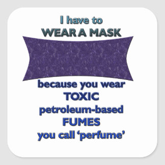Wearing a mask because square sticker