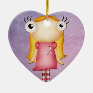 wearing a pink ribbon quirky girl christmas ornaments