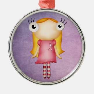 wearing a pink ribbon quirky girl christmas tree ornament