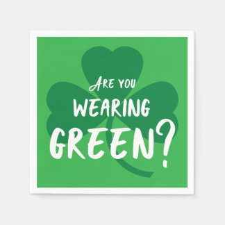 Wearing Green? Shamrock St. Patrick's Day Party Disposable Serviette