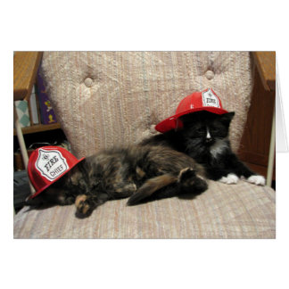 Weary Fire Fighers (Sweetie and Mittens) Card