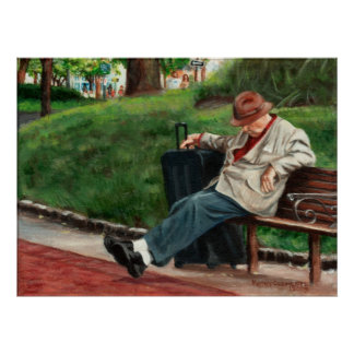 Weary Traveler Man Rests on Bench Poster
