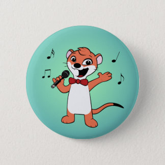weasel cartoon 6 cm round badge